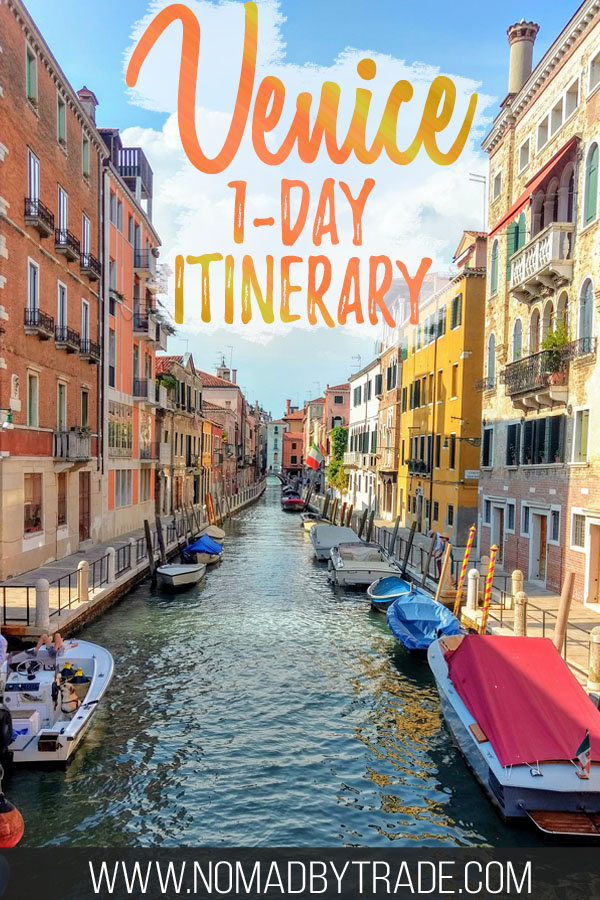 "Venice canal with text overlay reading ""Venice 1-day itinerary"""
