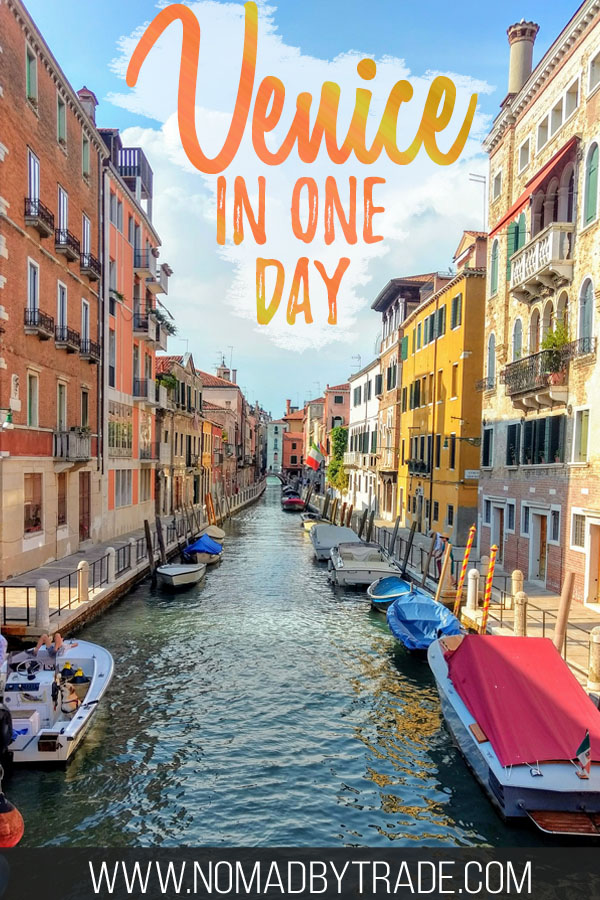 "Canal in Venice with text overlay reading ""Venice in a day"""