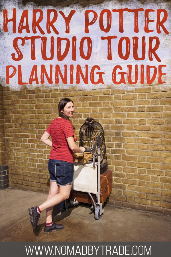 "Photo of a woman at Platform 9 3/4 with text overlay reading ""Harry Potter Studio Tour Planning Guide"""