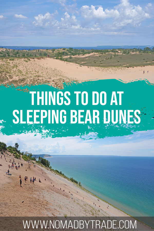 """Photo collage with text overlay reading """"Things to do at Sleeping Bear Dunes"""""""