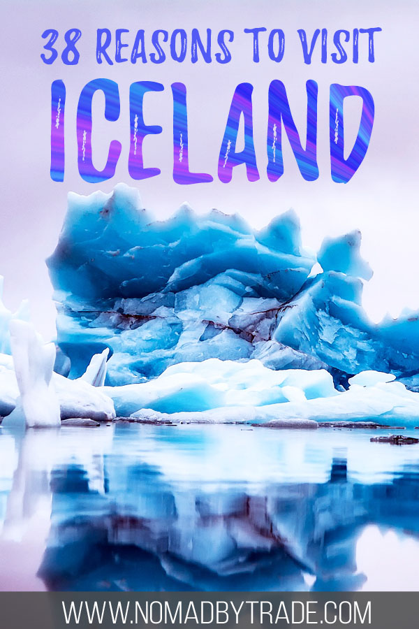 "Photo of icebergs with text overlay reading ""38 reasons to visit Iceland"""