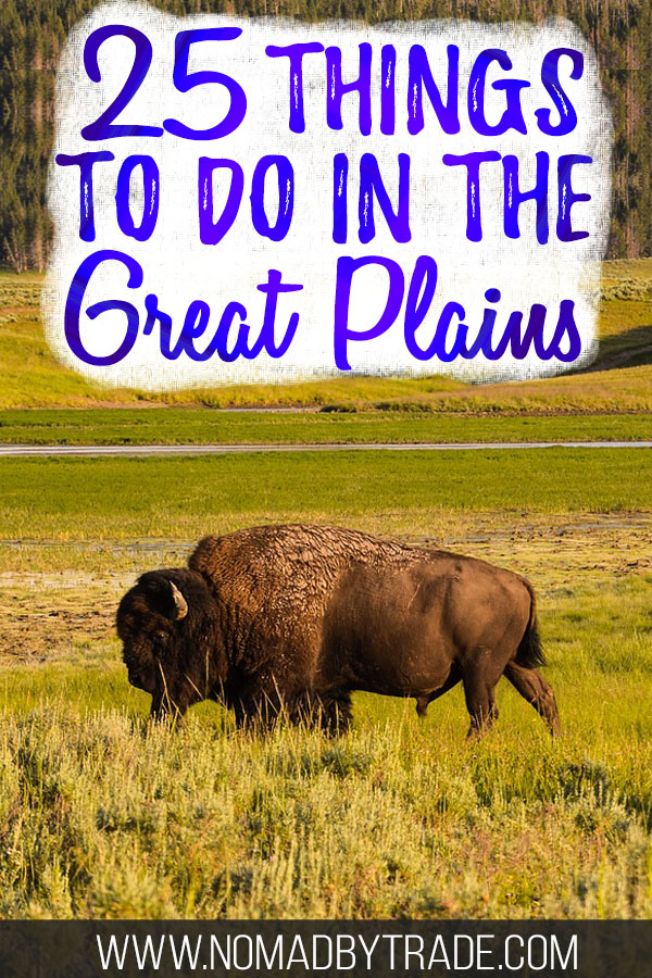 "Buffalo in rolling grass fields with text overlay reading ""25 things to do in the Great Plains"""