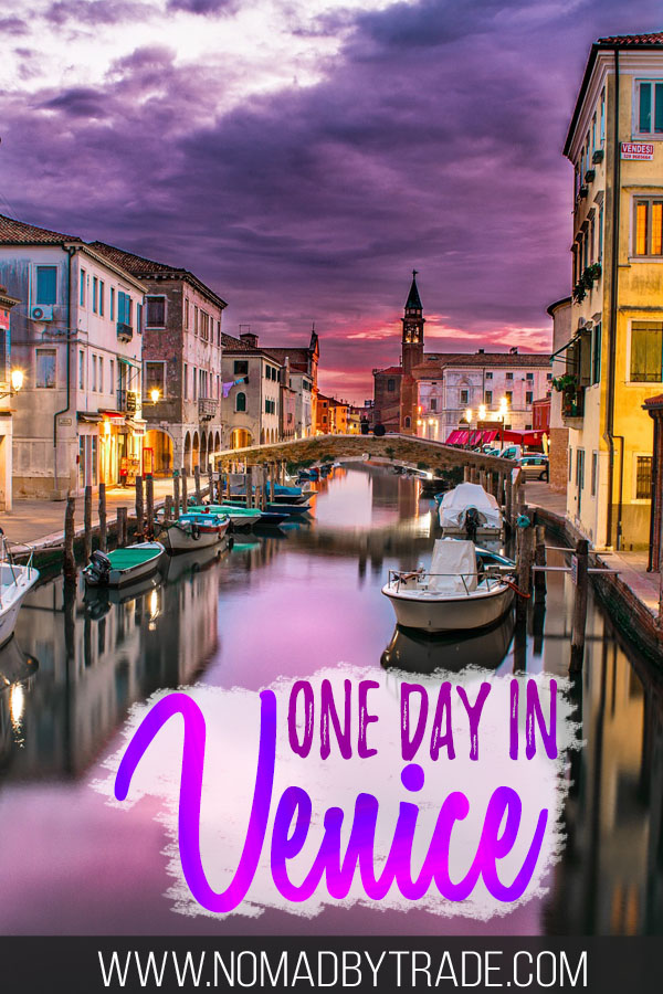 "Dusky skies over Venice with text overlay reading ""one day in Venice"""