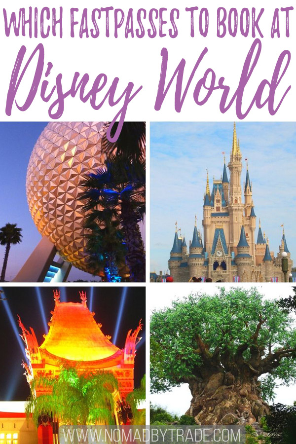 "Photo collage with text overlay reading ""Which FastPasses to book at Disney World"""