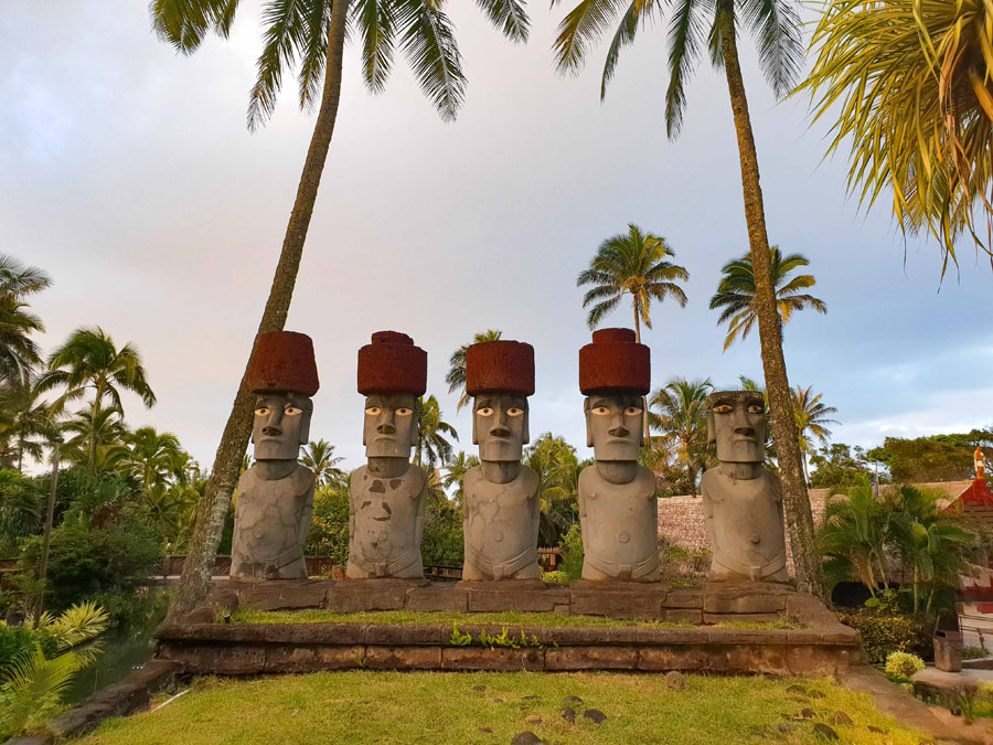 Replicas of Easter Island statues at the Polynesian Cultural Center