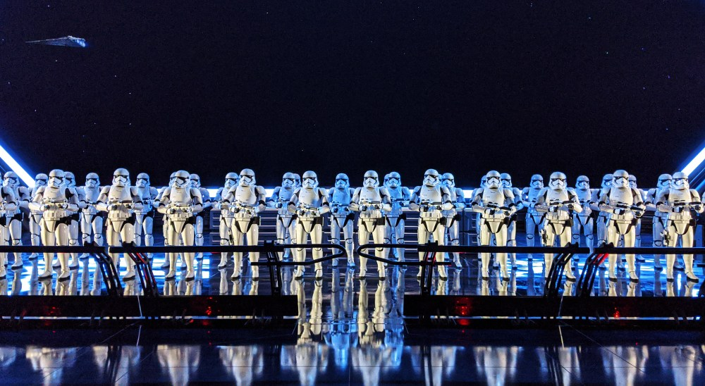 Line of Storm Troopers in the Rise of the Resistance Ride at Galaxy's Edge