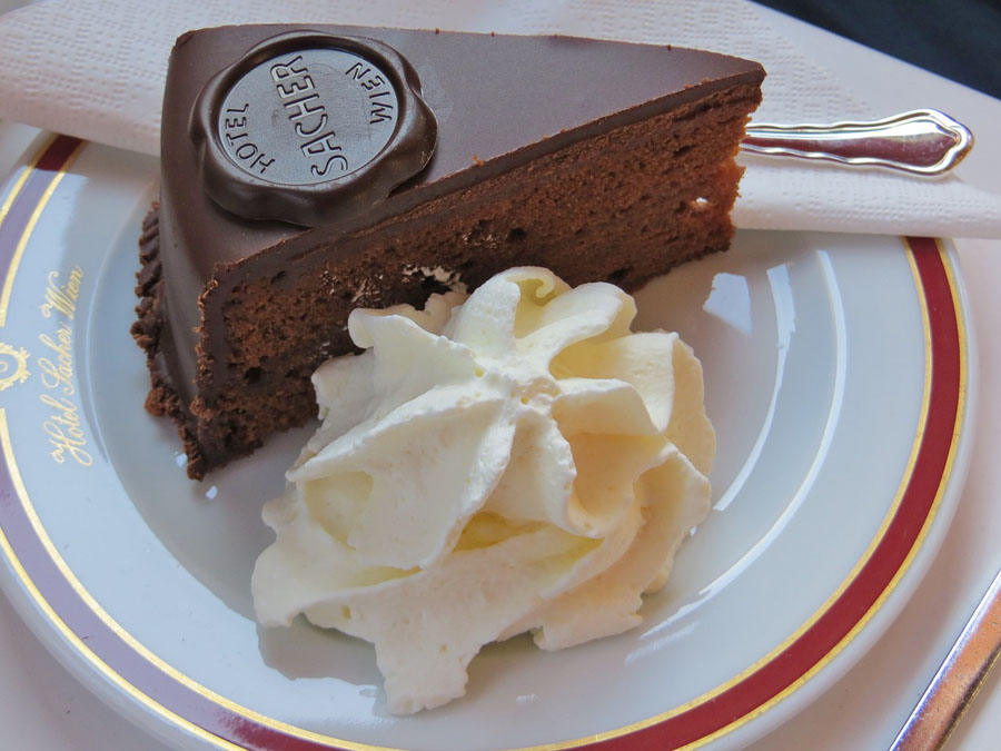 Slice of Sacher torte on a plate