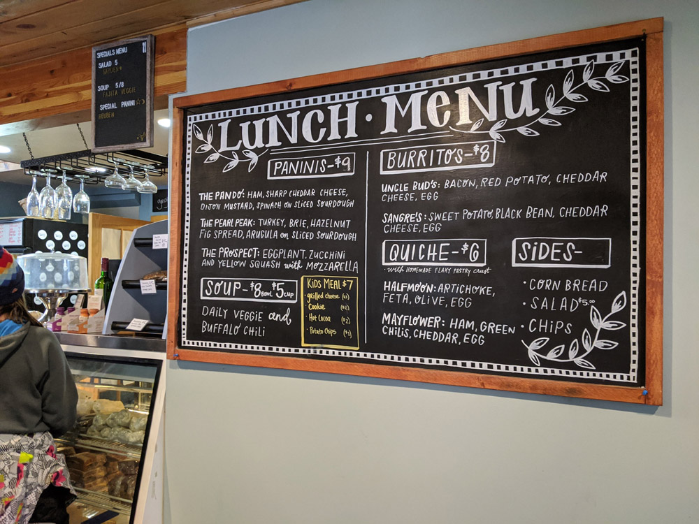 Cafe menu at Ski Cooper