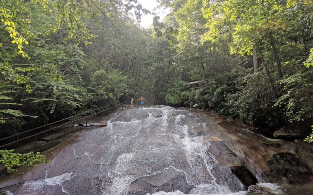 Sliding Rock, North Carolina's natural waterslide in Pisgah National Forest