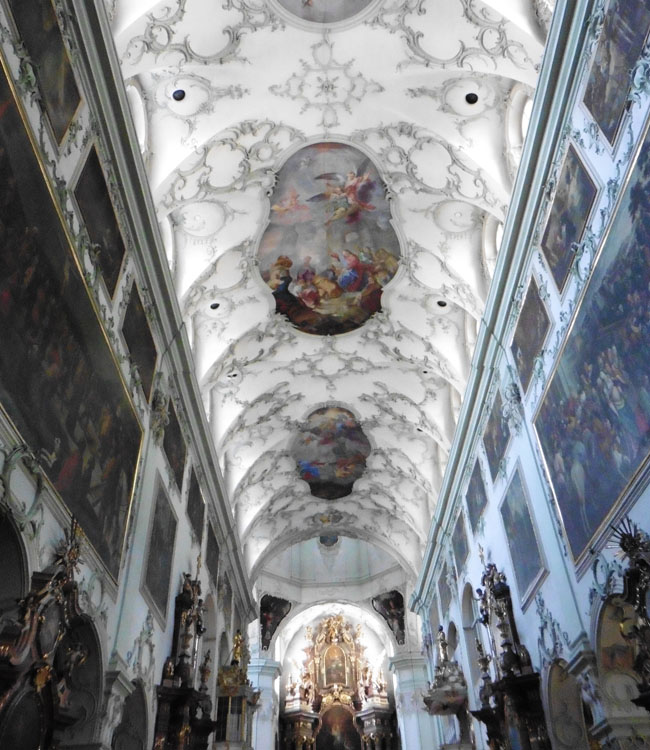 Ornately decorated ceiling of St. Peter's Abbey in Salzburg