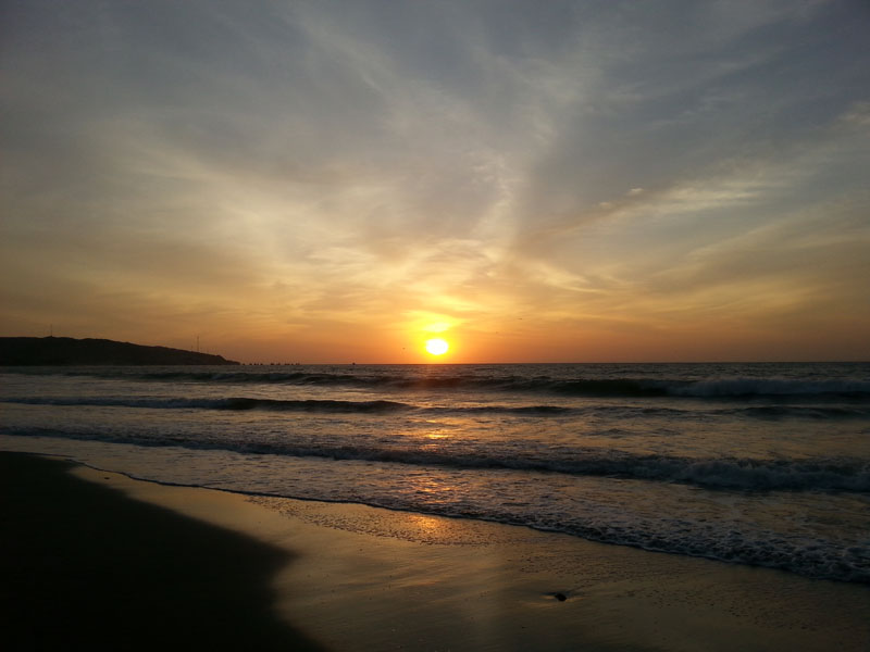 Sunset on the beach in Mancora, Peru