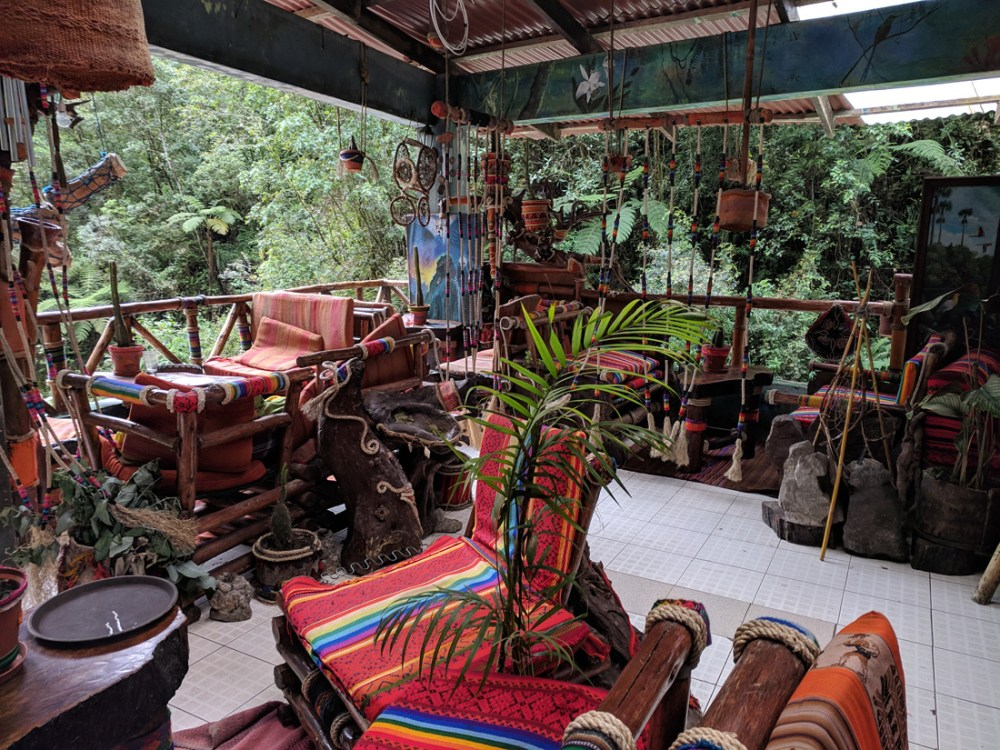 Bar and chairs on site at the Aguas Calientes hot springs
