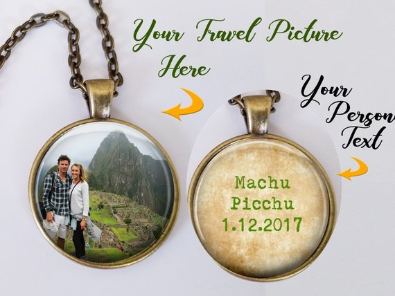 Necklace with custom travel photos