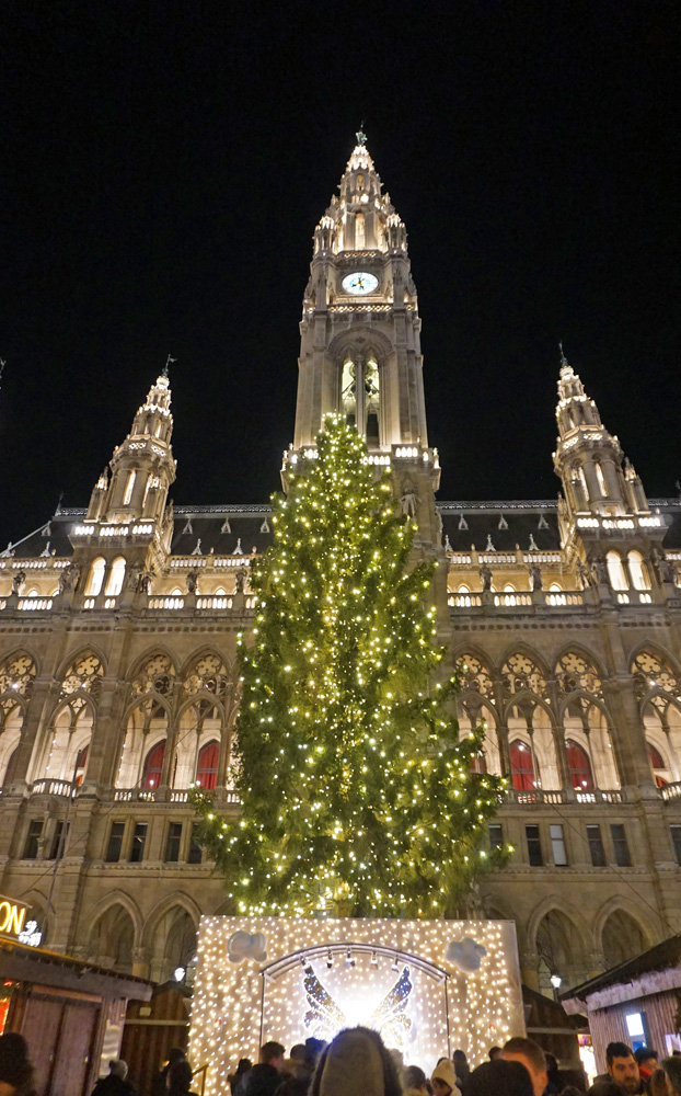 Giant Christmas tree in front of the Vienna Town Hall