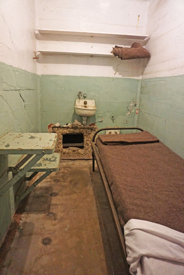 Alcatraz cell showing hole where an inmate escaped