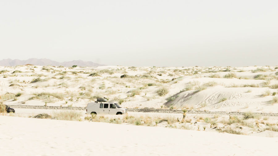 Van driving through White Sands National Monument