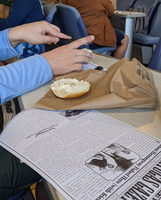 Bagel and cream cheese served aboard the Dry Tortugas ferry