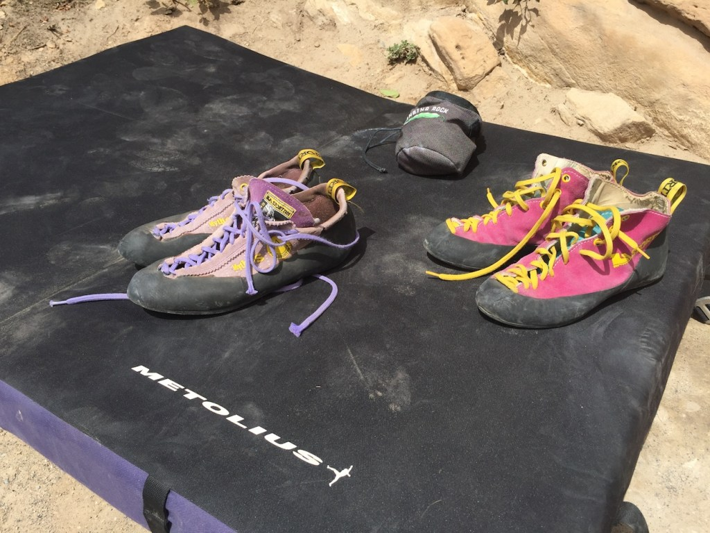 Bouldering Pad, Shoes, & Chalk