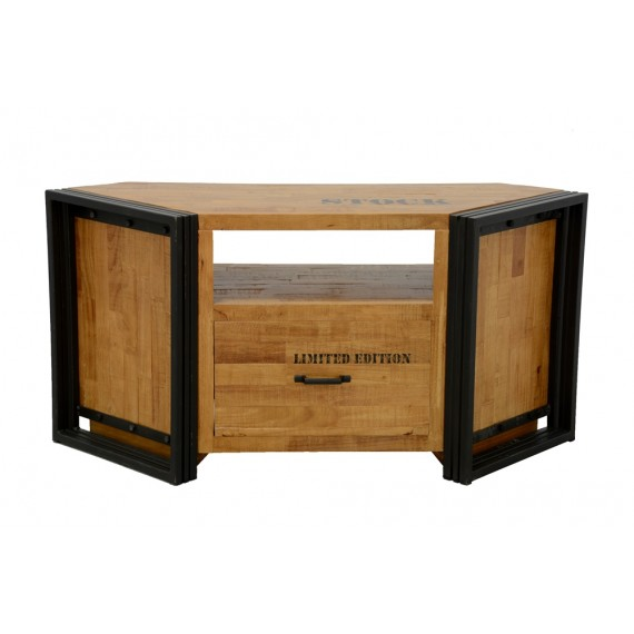 meuble tv d angle bois massif grand tiroir finition naturelle avec inscription