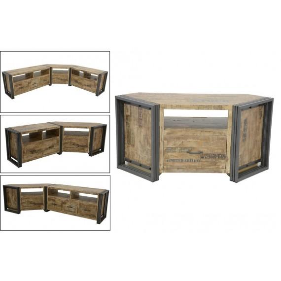 meuble tv d angle bois massif grand tiroir finition vieillie coloree et blanchie