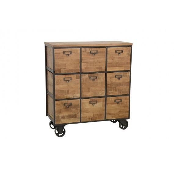 meuble bois sur roulettes 9 casiers finition naturelle vieillie
