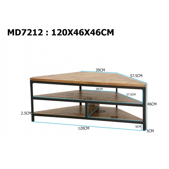 meuble tv d angle 2 etageres finition recyclee