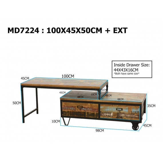 meuble tv industriel extensible finition naturelle vieillie