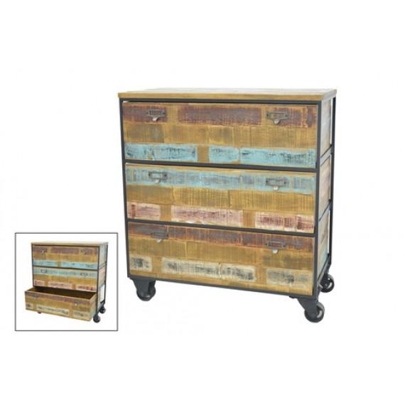 meuble de rangement industriel 3 tiroirs sur roues en finition recyclee