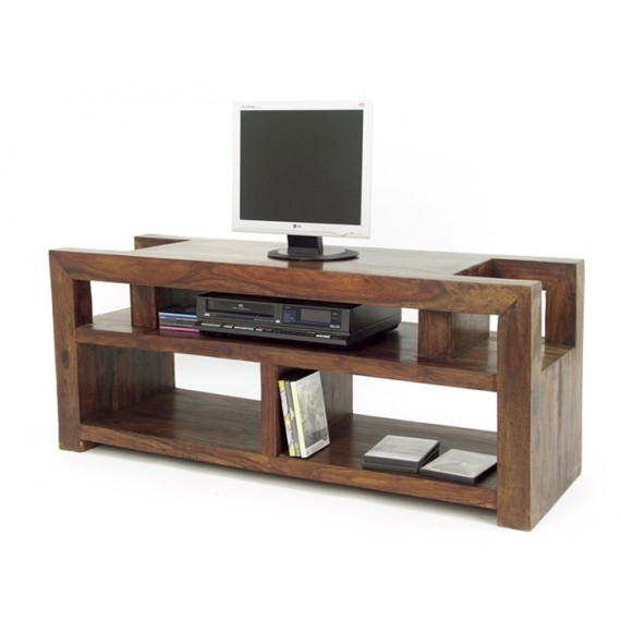 meuble tv bas bois massif 3 niches