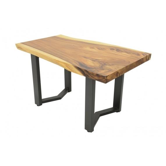 table repas plateau bois massif forme libre empietement fer forge modele fleche