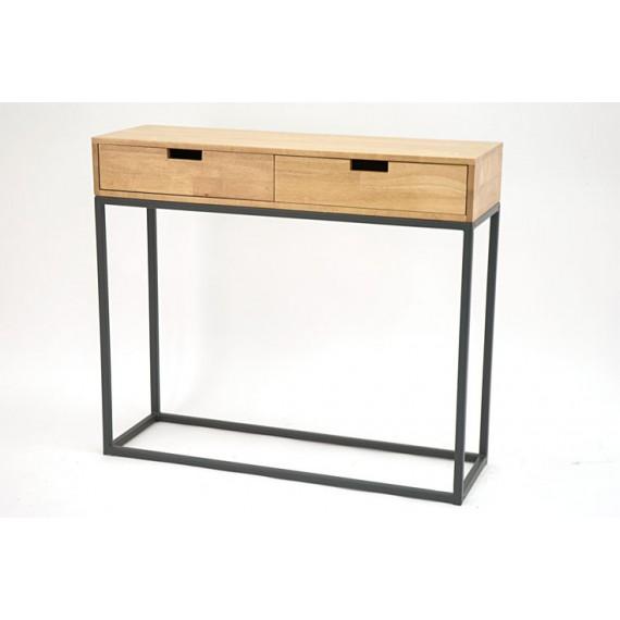 console contemporaine 2 tiroirs bois sur structure geometrique en metal