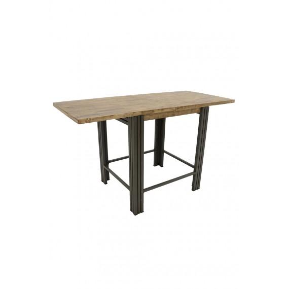 table de bar haute a rallonges finition vieillie coloree et blanchie