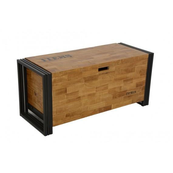 gand coffre bois fer finition naturelle 1 m finition naturelle avec inscription