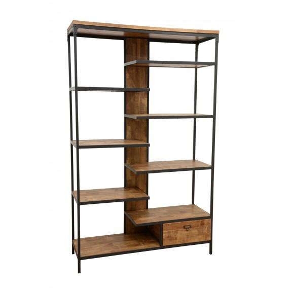 bibliotheque etagere 1 tiroir finition naturelle vieillie