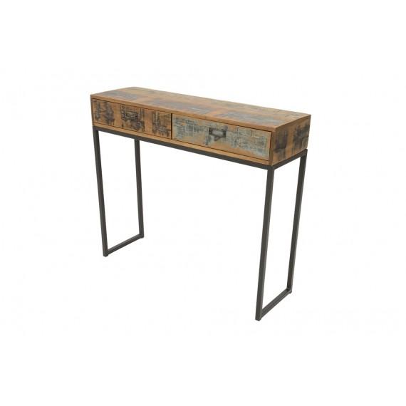 console d entree 2 tiroirs en fer et bois industrielle