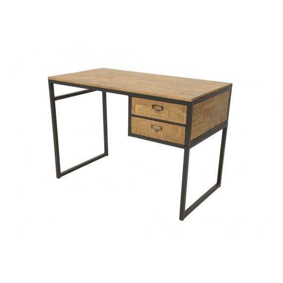 bureau epure industriel 2 tiroirs fer et bois en finition naturelle