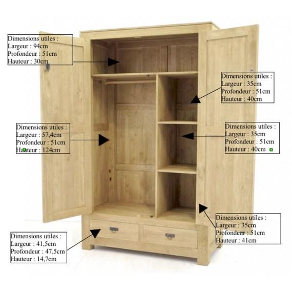 armoire penderie 2 portes 2 tiroirs maya
