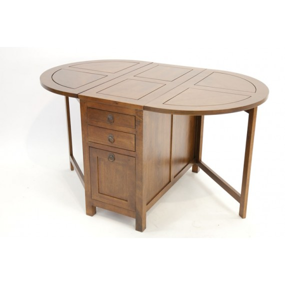 table repas ovale pliante 3 tiroirs 1 porte moken