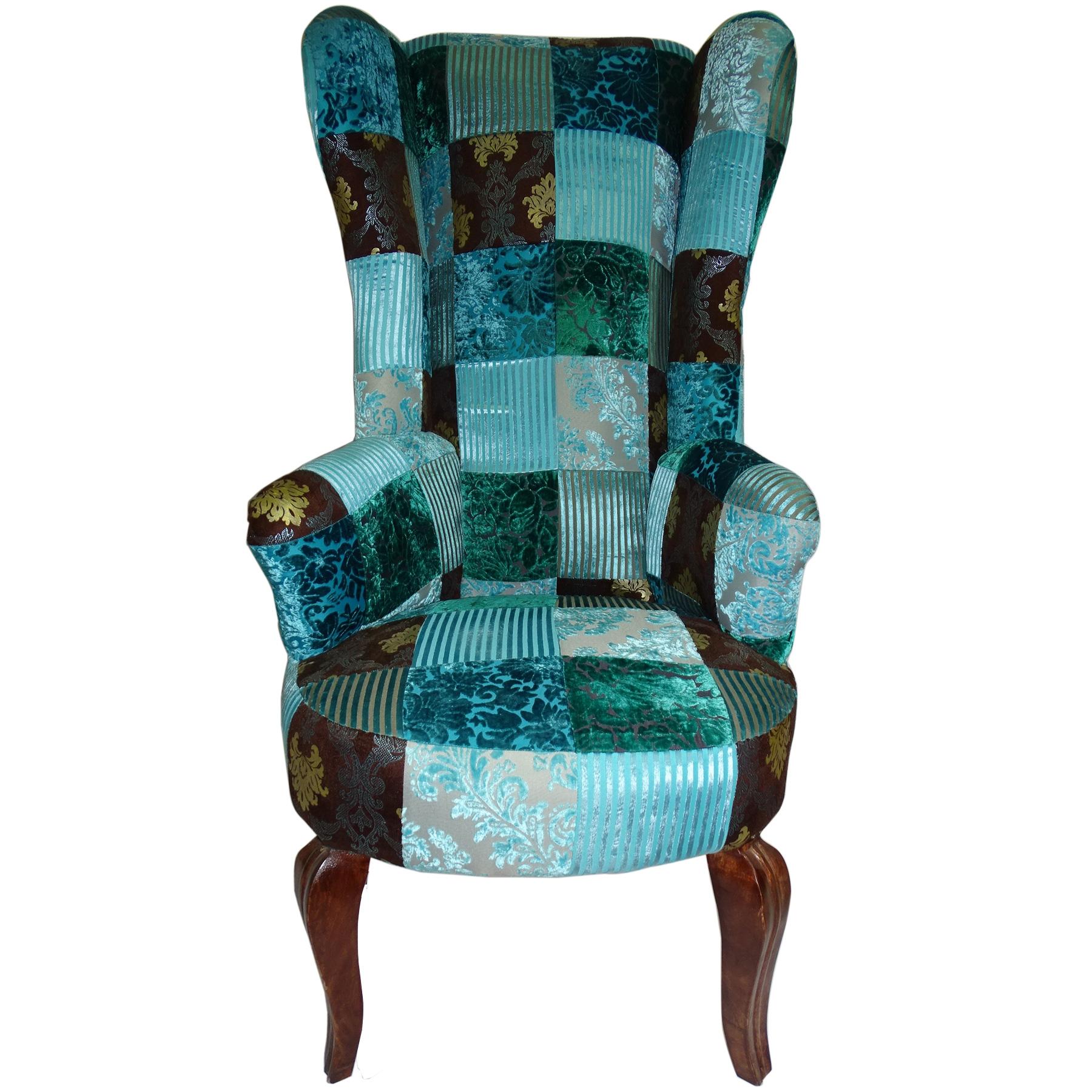 fauteuil patchwork dossier haut bleu
