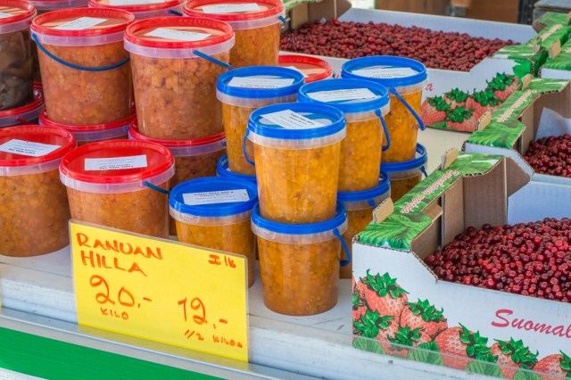 Cloudberry jam on sale at the Turku Market Square.