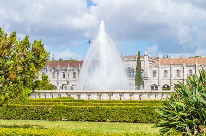 Jeronimos Monestary and Gardens in the Belem district of Lisbon.