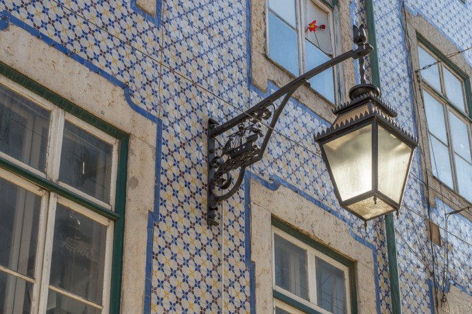 Beautiful housefronts in Lisbon's Alfama district.