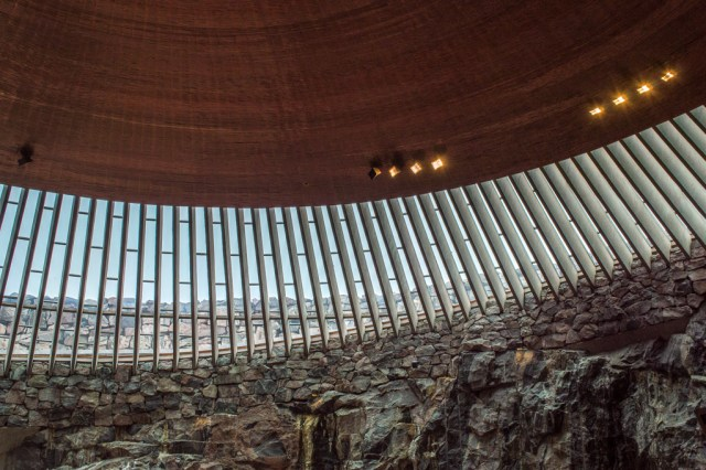 Rock and copper are the dominant materials in the Temppeliaukio Church.