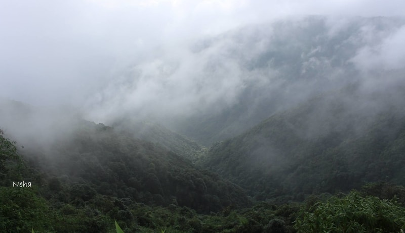 Misty hills on the drive from Shillong to Cherrapunji