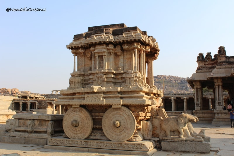 The stone chariot at Vitthala temple in Hampi, one of the best cultural weekend getaways from Bangalore