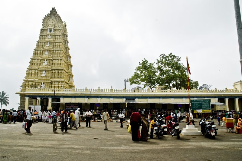A shot of the temple and tall spire of the Chamundeshwari Temple in Mysore, one of the popular weekend getaways from Bangalore