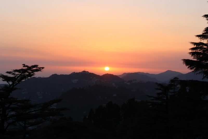 Sun setting behind the mountains of Mussoorie