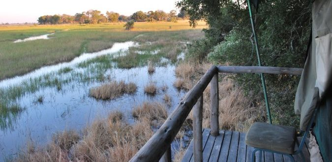 The view from the campground on a safari in the Okavango Delta in Botswana