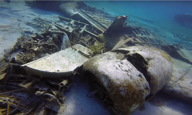 Part of the plane wreck at the dive site we visited. This is a still from a YouTube video of a Blackbeard's Cruises trip -- see the video at: https://youtu.be/h-I6OC-qDns