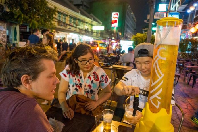 thailand, bangkok, khaosan, road, beer, restaurant